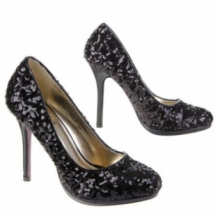 ZWARTE PARTY PUMPS MET STILETTO HAK & GLINSTERENDE PAILLETJES