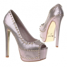 SEXY ROZE PARTY PLATEAUPUMPS MET PEEP TOE & GOUDEN SPIKES