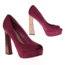 GAVE PAARS / RODE PARTY PLATEAUPUMPS MET PEEP TOE & GLITTERHAK,