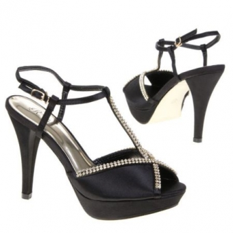 ZWARTE PARTY PLATEAU PUMPS / SANDALEN MET STRASS, MODEL 4